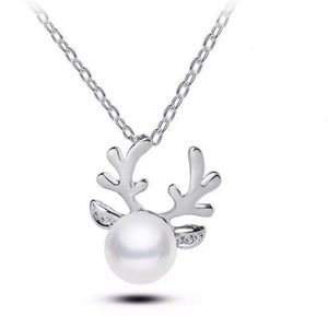 Reindeer Faux Pearl Silver Necklace